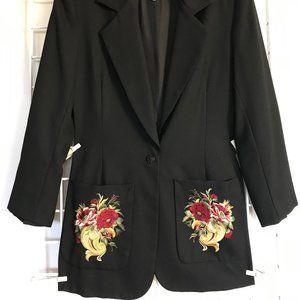 Jacket w Embroidered Pockets Blazer